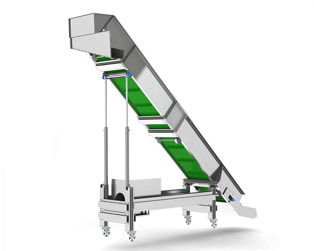 Конвейеры подъемные груз транспортируют с помощью двух конвейеров первый конвейер перемещает весь груз